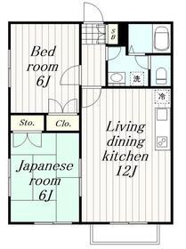 シエスタ2階Fの間取り画像