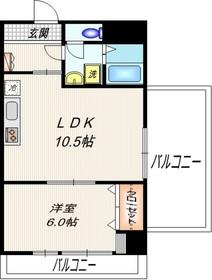ディアフラッツ6階Fの間取り画像