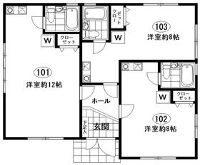 大倉荘1階Fの間取り画像