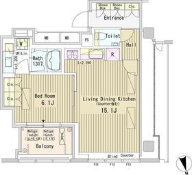 パークアクシス御成門14階Fの間取り画像
