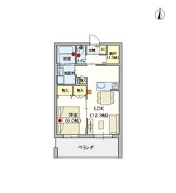 (シニア限定)清水ヴィレッジ2階Fの間取り画像