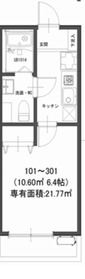 モダンアパートメント鶴見豊岡3階Fの間取り画像