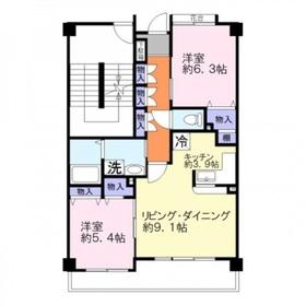 エーコー・カミキI4階Fの間取り画像