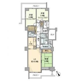 新多摩川ハイム5号棟12階Fの間取り画像