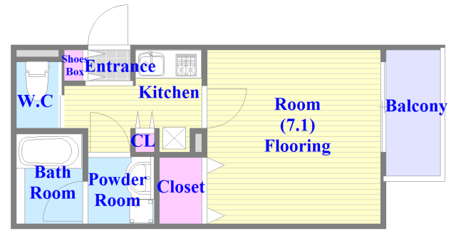 ステディ八戸の里 バストイレがセパレート、独立洗面所のある使い易い間取りです。