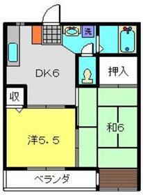ビューハイツ松見2階Fの間取り画像
