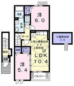 河辺駅 バス6分「今寺榎」徒歩7分2階Fの間取り画像