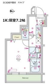 スカイコート成城学園前4階Fの間取り画像