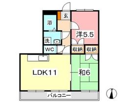 ヴィレッジロイヤルセブン5階Fの間取り画像