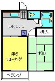 コーポ一徳2階Fの間取り画像