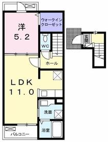 ヴィラ・カスカータ2階Fの間取り画像