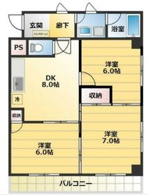 サンビーム・ハタ4階Fの間取り画像
