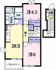 本厚木駅 バス14分「下依知入口」徒歩8分2階Fの間取り画像