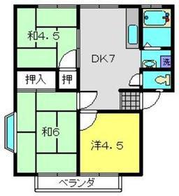 コズミックシティ南台第二A2階Fの間取り画像
