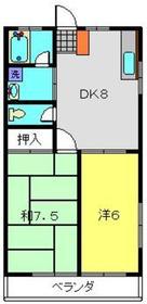 サンコート白根台Ⅰ2階Fの間取り画像