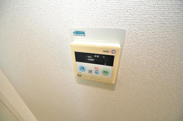 グリーンハウス 給湯リモコン付。温度調整は指1本、いつでもお好みの温度です。