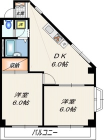 芳垣ハイツ2階Fの間取り画像