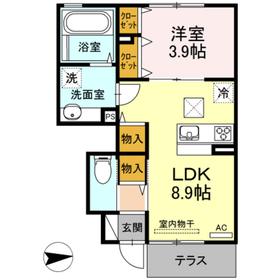 ハーモニー新水前寺Ⅲ1階Fの間取り画像