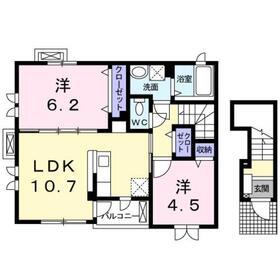サニーヴィレッジD2階Fの間取り画像