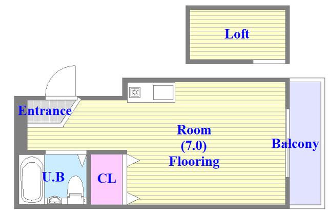 アパートメント生野Ⅲ ロフト付きワンルーム。楽しい生活が始まりそうですね。