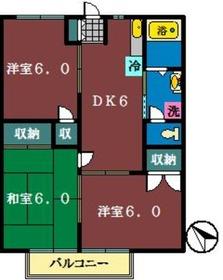 AKハウス2階Fの間取り画像