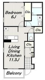 カーサドマーニⅡ1階Fの間取り画像