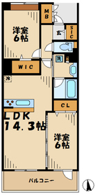 ロイヤルパークス若葉台13階Fの間取り画像