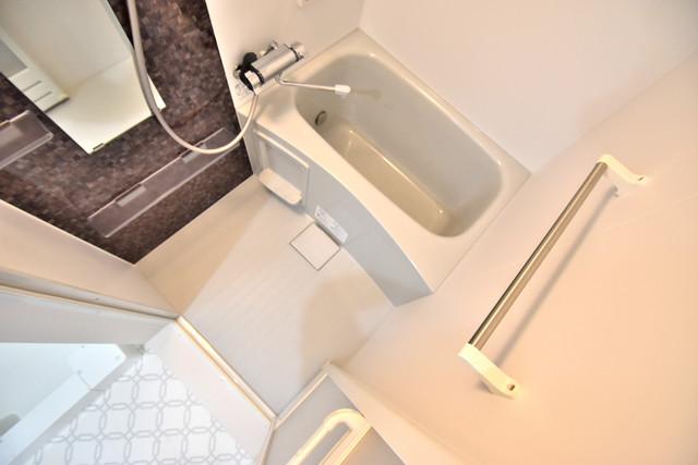 クリエオーレ高井田西 ちょうどいいサイズのお風呂です。お掃除も楽にできますよ。