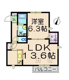 K・S ソレイユ1階Fの間取り画像
