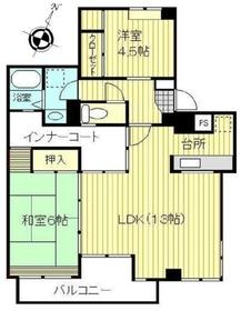 ファミーユ桜ヶ丘4階Fの間取り画像