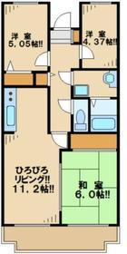 第2かしの木ハイツ2階Fの間取り画像