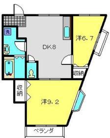 第3加弘コーポ2階Fの間取り画像