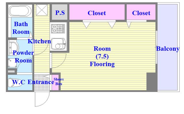 プロシード巽 バストイレがセパレート、独立洗面所のある使い易い間取りです。
