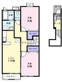 サニーフラット2階Fの間取り画像