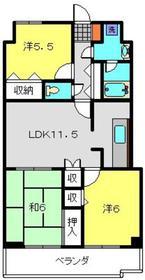 フジハイツ丸山台6階Fの間取り画像