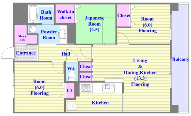 セレッソコート八戸ノ里ハートランドイーストビュー セパレートで和室もありファミリータイプにはおススメの間取です。