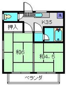 ロイヤルB2階Fの間取り画像