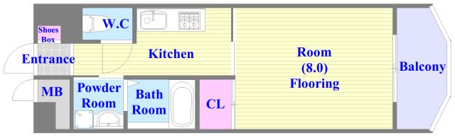 プランドール南巽 バス・トイレがセパレート、各所に収納がある使いやすい間取り。