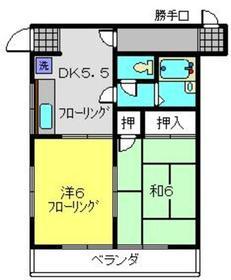ハイムハセコ2階Fの間取り画像