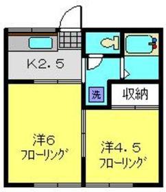 永田北ハイツ1階Fの間取り画像