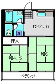 ハイム田中2階Fの間取り画像