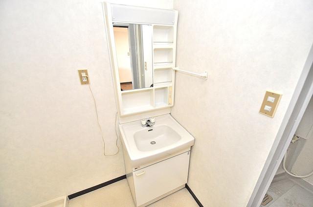 TSUJIHANAビルディング 広い洗面所はご家族の多い、忙しい朝にも十分対応してくれます。