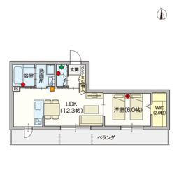 (シニア限定)ヘーベルVillage蓮根2階Fの間取り画像
