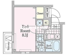 クロノガーデン神楽坂2階Fの間取り画像