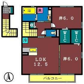 ソレイユAB2階Fの間取り画像