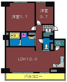 グロースメゾン海神B棟2階Fの間取り画像