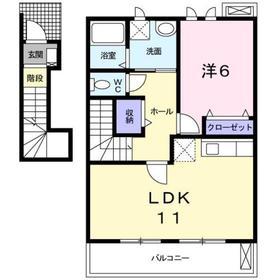 サニースクエアーⅡ2階Fの間取り画像
