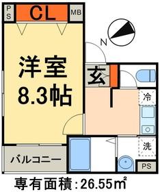 ピースコート2階Fの間取り画像