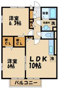 ディアコート1階Fの間取り画像