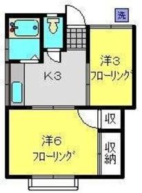 青山荘2階Fの間取り画像